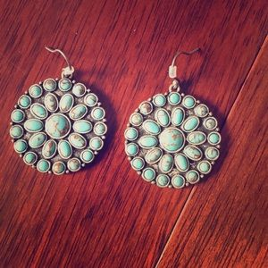 Lucky brand turquoise medallion earrings